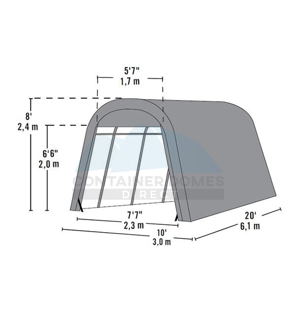 Temporary Carport Shelter 12 x 20 x 8H – Container Domes ...